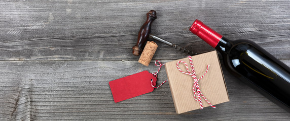Fathers day gift box with a bottle of red wine and opener for the holiday season