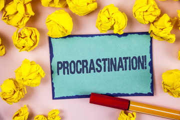 Writing note showing  Procrastination Motivational Call. Business photo showcasing Delay or Postpone something boring written on Sticky note paper within paper balls on plain background Pen