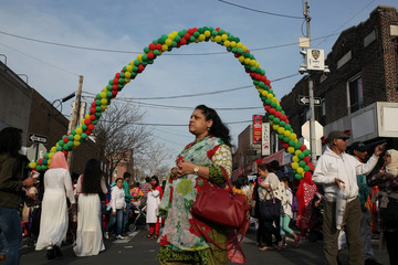 Bangladeshi Americans gather to take part in celebrations for the Bengali New Year in Jackson Heights, Queens, New York