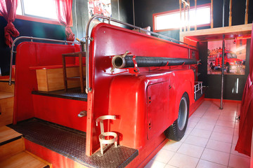 """A firetruck is seen inside a room at the Motel """"Bahia"""" in Concon."""