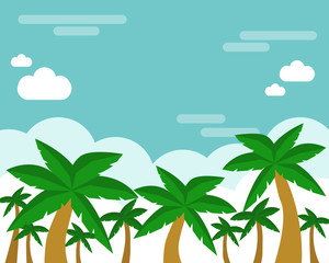Palm tree and blur sky vector illustration