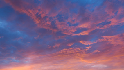 Vibrant colorful clouds at sunset