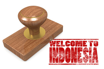 Red rubber stamp with welcome to Indonesia