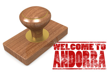 Red rubber stamp with welcome to Andorra