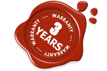 Three years warranty seal isolated on white background