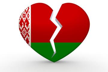 Broken white heart shape with Belarus flag