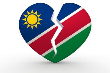 Broken white heart shape with Namibia flag