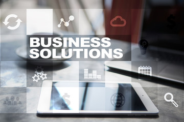 Business solutions on the virtual screen. Business concept.