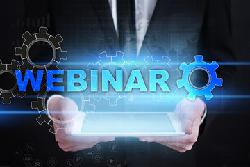 Webinar. E-Learning, Online Education concept. Personal development. Virtual screen.