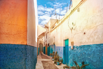 Narrow street in one of the cities of Morocco