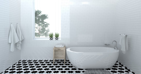 empty bathroom interior,toilet,shower,modern home design 3d rendering for copy space background white tile bathroom