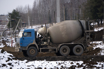 cement truck p-MIX concrete Photo on the road no near the center,
