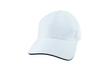 White Baseball Hat Isolated on White Background.