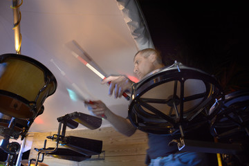 Man playing percussion instruments