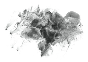 Abstract watercolor background hand-drawn on paper. Volumetric smoke elements. Neutral Gray color. For design, websites, card, text, decoration, surfaces.