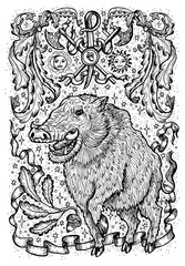Pig symbol with heraldic weapon, baroque elements and vignette ribbons. Fantasy vector illustration for t-shirt, print, card, tattoo design. Zodiac animals signs of eastern calendar