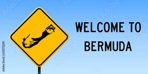 Bermuda map on road sign. Wide poster with Bermuda island map on ...
