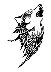 Silhouette Wolf whine head tribal tattoo design for arm or leg vector