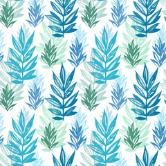 Floral seamless pattern with green and blue leaves watercolor on white. Abstract colorful illustration