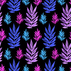 Floral seamless pattern with purple and blue leaves watercolor on black. Abstract colorful illustration