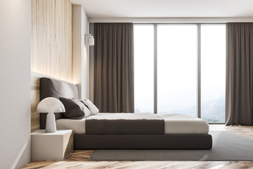 Wooden wall Scandinavian bedroom, side view