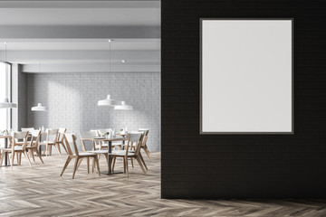 White brick modern cafe interior, poster close up