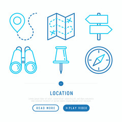 Location thin line icons set: pin, pointer, direction, route, compass, wall needle, binoculars. Modern vector illustration.