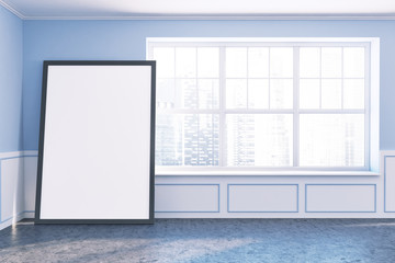 Empty room with blue walls and big window, poster