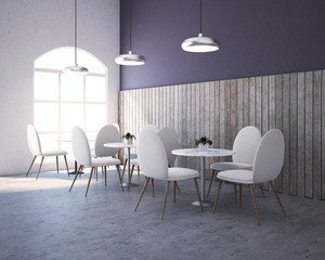 Purple, wood restaurant corner, round tables
