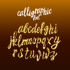 Calligraphic Golden Handwriting Font, VECTOR Gold Dust Letters Template, Shine Texture.