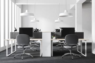 White loft open space workplace