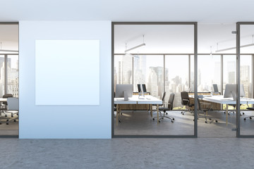 Blue wall office lobby, square poster, cityscape
