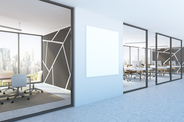 Blue wall office lobby, square poster, side view