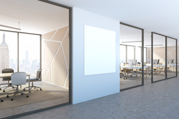 Side view of blue wall office lobby, square poster