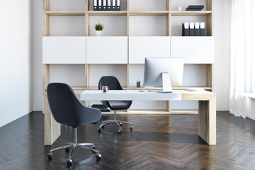 Company manager office interior, wooden bookcase