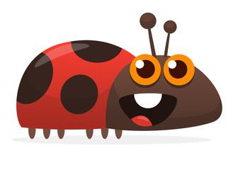 Vector funny cartoon ladybug. Isolated on white