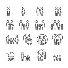 Vector image set of family line icons.