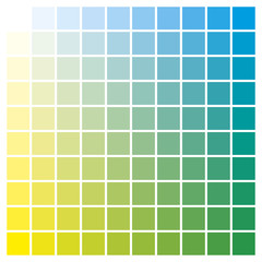 Color chart yellow cyan print production color guide ink catalog used in graphic arts, prepress and printing