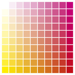 Color chart yellow magenta print production color guide ink catalog used in graphic arts, prepress and printing