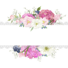 White background with a pink bouquet. Ideal for wedding invitations or greeting cards