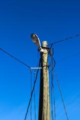 light on the pole and blue sky