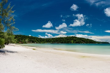 Tropical landscape with beautiful beach, turquoise clean water and blue sky. Saracen Bay, Koh Rong Samloem. Cambodia, Asia.