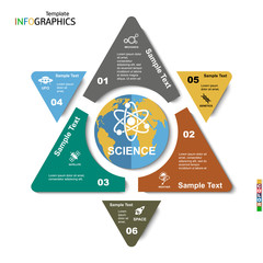Geometric infographic template for 6 steps