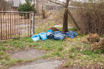Blue garbage bags full of trash deposited next to the road