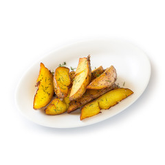 French fries fried in the country on a white plate. Isolated