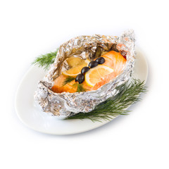 Fish red baked in foil on a white plate. Isolated