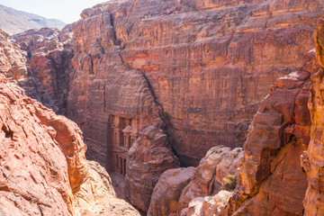The Treasury buildin in the UNESCO World Heritage Site of Petra in Jordan. aerial view.