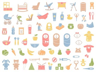 Baby vector icons set