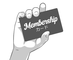 Black and white illustration of female hand holding membership card, card written in japanese