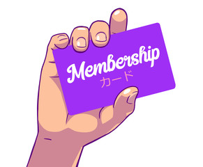 Color illustration of female hand holding membership card, card written in japanese